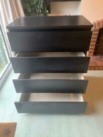 IKEA malm black chest of drawers good condition