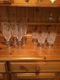 5 Champagne flutes and 5 small sherry glasses Excellent Condition