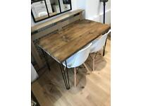 Table and 2 chairs dining table contemporary Danish modern hairpin legs