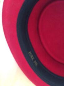 Red pork pie hat