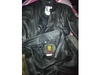 BELSTAFF MOTORBIKE LEATHERS JACKET AND JEANS EXCELLENT CONDITION 46 CHEST 34 WAIST LONG ,BLACK