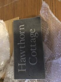Hawthorn Cottage . Engraved Slate Wall Plaque 30cm x 15cm Brand New unused