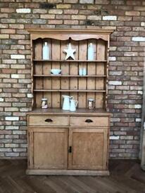 Rustic pine Welsh dresser display cabinet shelving