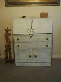 Beautiful bespoke white bureau compact desk solid wood immaculate as new can deliver