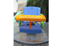 BABY - TODDLER BOOSTER TABLE SEAT - with removable / adjustable tray & straps