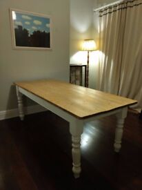 Reclaimed wood 7ft Rustic Farmhouse Table white painted legs