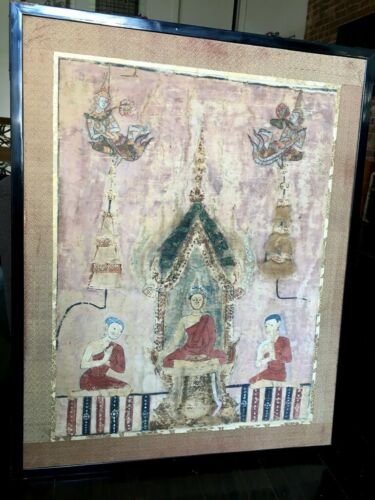 Antique Jataka Burma Thai Buddhist Banner Painting