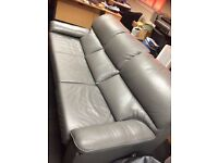 2 Grey leather sofas 2 Seater + 3 Seater (2nd Hand)
