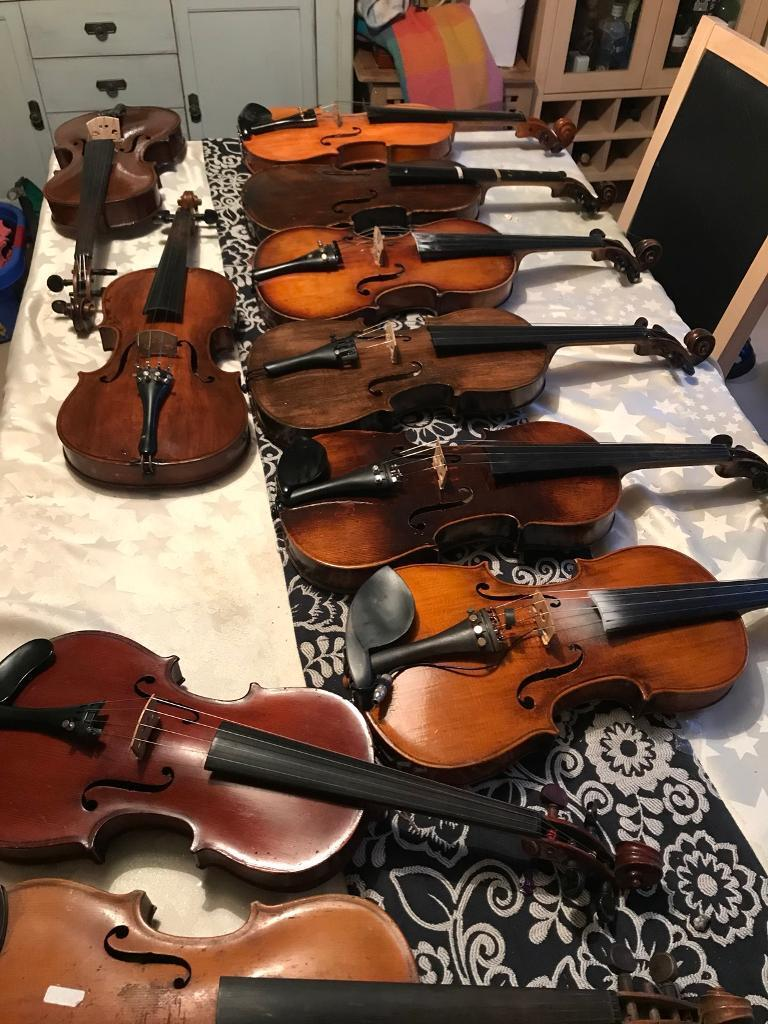 A range of Antique and old violins for sale. Individually priced