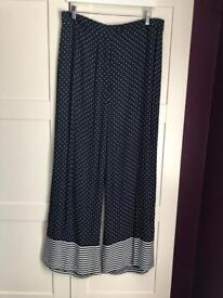 Limited Edition Navy & White patterned trousers size 14