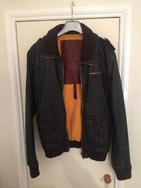 Superdry brad bomber leather jacket large