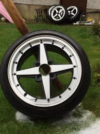 Rota Zero 4x100 15x7 alloys wheels & tyres civic corsa Mx5 jdm 4 stud
