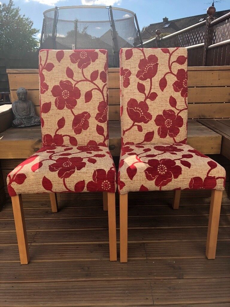 Reduced Price Pair Of Red Flower Pattern Dining Chairs With Oak Effect