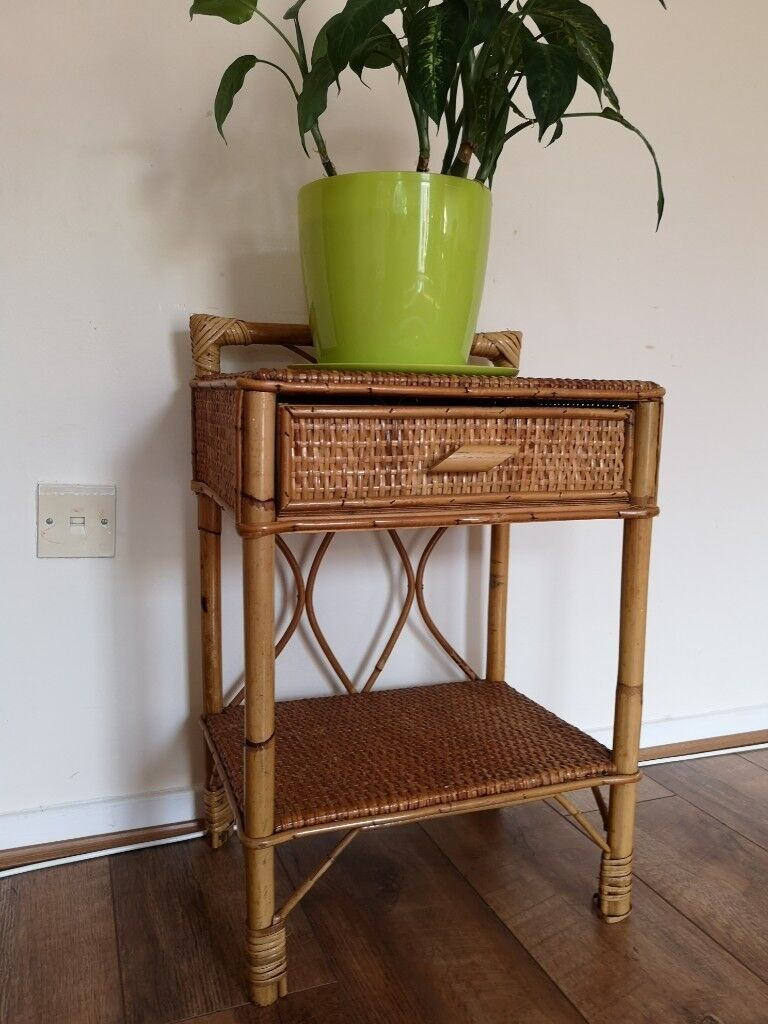 Vintage Rattan Bedside Table