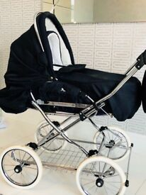 Churchill pram navy blue