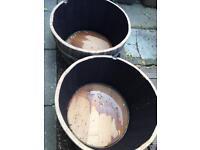 Half barrel planters