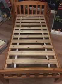Toddler bed frame (£15) Bedding (£10)