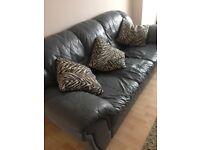 3 piece leather suite. Excellent condition. Bluey grey colour