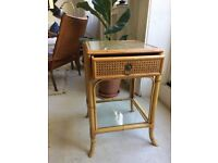 Vintage cane and bamboo bedside table with drawer