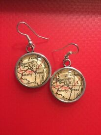 Glass Earrings Map of York, England postage available.