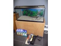 Large Tropical Fish Tank (Aquarium) and Stand 160 litres 1m wide