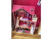 Dolls House with Furniture (Open Fronted) and dolls cars