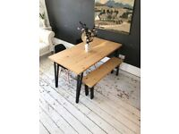 ARTEMIS Handmade Tapered Black Steel Leg Dining Table Bench and Chairs Industrial Free Delivery