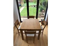 Laura Ashley Oak Extendable Dining Table and 4 Chairs
