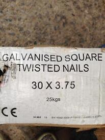 Galvanised square twisted nails 30x3.75mm