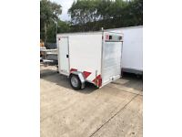 Blueline box trailer 7 x 4 x5 with rear shutter and side door.