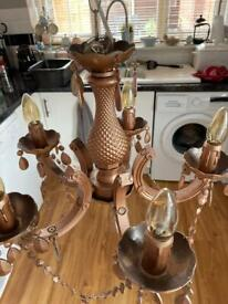 Copper chandelier with vintage bulbs