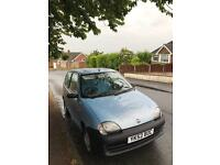 Fiat Seicento 1.1 s 2002 52 petrol sunroof economical *NEW MOT* low miles fiesta punto corsa focus