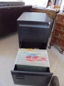 2 Drawer Foolscap Anti Tilt Safety Steel Filing Cabinet in Black c/w 50 Hanging files (Unused)