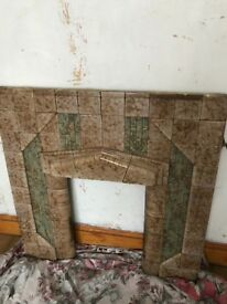 Solid wood fire surround and tile mantel