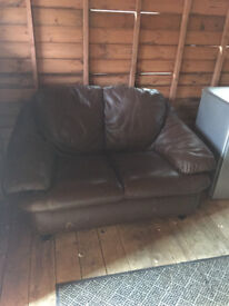 2x Brown Leather Sofas Two Seater Used Collection Only.