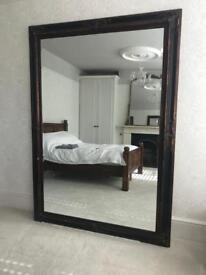 Extra Large Dark Wooden Framed Gothic Period Antique Mirror