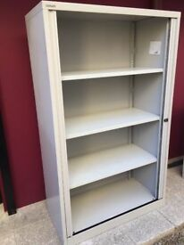 1.65m tall Bisley tambour storage cabinet with key