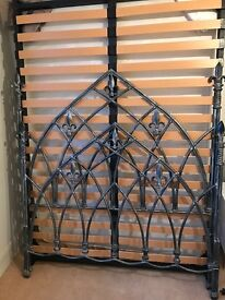 Gothic style pewter finish double bed incl double mattress