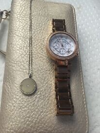 Michael Kors set, watch and necklace both in great condition