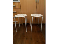 2 x Ikea white stools outdoor or indoor kitchen bathroom dining easy stacking storage