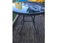 Garden glass metal table