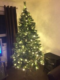 AAA,,,pre lit glittered Christmas tree 7.5 feet