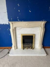 Solid marble electric fireplace.