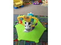 Fisher Price Go Baby Go Bounce and Spin Zebra toy musical bouncer, Immaculate.