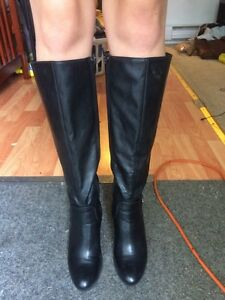 black leather knee high, healed boots