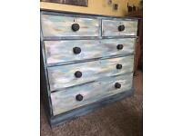 Shabby Chic Victorian Solid Mahogany Chest of Drawers (Can Deliver)