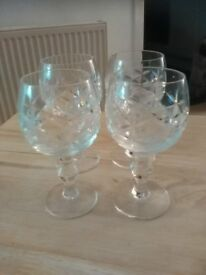 SET OF FOUR CRYSTAL SHERRY GLASSES