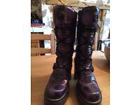 New Rock Goth / Punk ladies purple boots, size 6UK