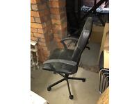 Black leather office swivel chair (2 available)