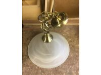 Antique Gold Centre Light With Frosted Shade.